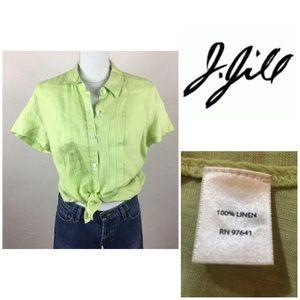 J Jill NWOT Chartreuse Short Sleeve Button up Med